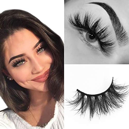 SWINGINGHAIR Mink Lashes, 3D Mink Eyelashes 19mm Natural False Eyelashes Siberian 3D Mink Lashes...