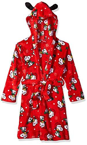Peanuts Big Snoopy - Albornoz con capucha para niña, Rojo, Small