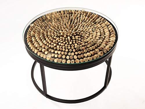 *Vakarua Couchtisch aus Treibholz Drift Sofatisch Holztisch Wohnzimmertisch Rund Metall*