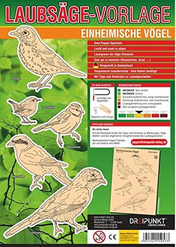 Laubsägevorlage Einheimische Vögel: Laubsägevorlage für fünf einheimische Singvögel aus hochwertigem 3mm Pappelsperrholz.