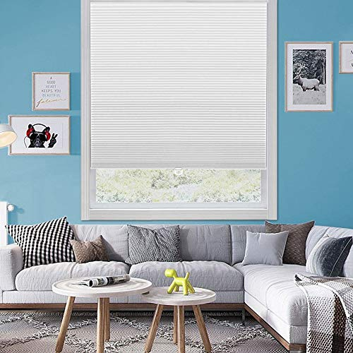 """Wotefusi Cellular Shades Non-Woven Honeycomb Shutter Shade Window Blinds Cordless Safe White 39"""" W x 48"""" H"""