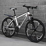 Bicicletas De Montaña para Hombre De 26 Pulgadas, Bicicleta De Montaña Rígida De Acero con Alto Contenido De Carbono, con Asiento Ajustable con,White 6 Spoke,30 Speed