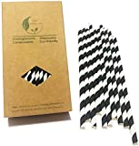 Black Striped Paper Straws, Colorful Stripes Paper Drinking Straws 100 Pack (Black Stripes), Durable & Biodegradable Drinking Straws