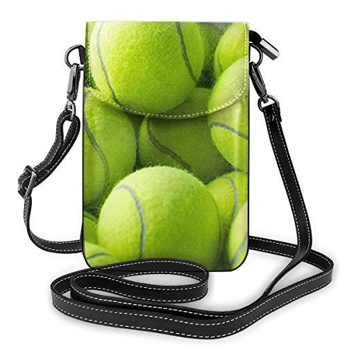 Goxegag Multifunktionale Leder Telefon Geldbörse, Leichte Kleine Schulter Umhängetasche Reisetasche Mit Verstellbarem Gurt Für Frauen- Gelbe Tennisbälle