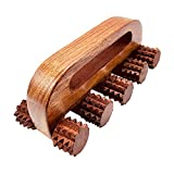 Hathkaam Handheld Wooden Massage Roller 7.5' | Rosewood 5 Wheel Mouse Unisex Massager | Relieves Calf, Back, Neck & Shoulder Pain | Acupressure Massage Therapy for Muscle Relaxation.