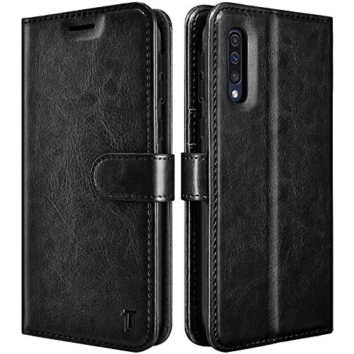 Galaxy A50 Case, Galaxy A30S / A50S / A50 Wallet Case, Tekcoo [RFID Blocking] Cash Credit Card Slots Holder Carrying Vegan Leather Phone Folio Flip Cover Kickstand for Samsung A50/A30S/A50S [Black]