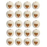 Baoblaze 20 Stück Unvollendete Mini Perlen Set Holzperlen Holzkugeln Perle Beads Kugeln Schnullerkette Basteln Zwischenperlen - Herz