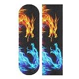 Skateboard Grip Tape Sheet 33 X 9 Inch - Blue Red Fire Dragons Sandpaper for Rollerboard Longboard Griptape Bubble Free Skateboard Tape