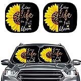 ほとんどのセダンSUVトラックブロックの太陽の太陽の太陽色合いの2つの折りたたみ式車のフロントウィンドウサンシェードSun Gla-Re UVと熱 (Color : Live Life In Full Bloom Sunflower)
