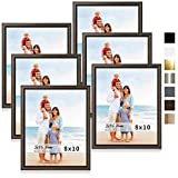 LaVie Home 8x10 Picture Frames (6 Pack, Brown) Simple Designed Photo Frame with High Definition Glass for Wall Mount & Table Top Display, Set of 6 Classic Collection