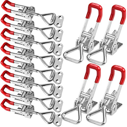 16 Pack Adjustable Toggle Clamp, 360 lbs Holding Capacity Toggle Latch Hasp Clamp GH-4001 Quick Release Pull Latch Metal Draw Latch for Door, Box Case Trunk, Smoker Lid, Jig