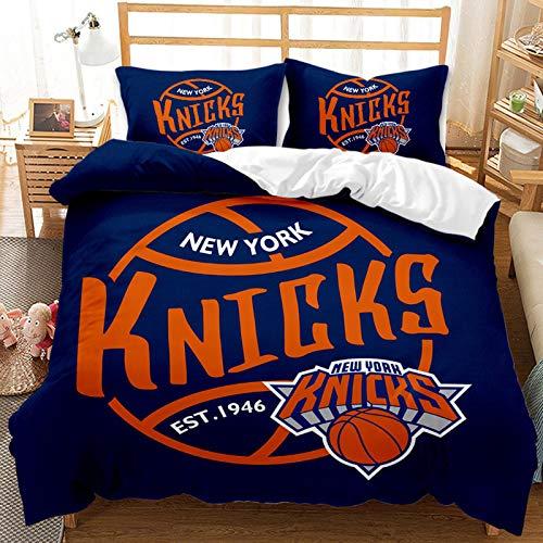 Wusan Knicks Team Logo Bedding Set Queen Size American Basketball Club Kids New York Duvet Cover Sets for Adults Teens Navy 1 Duvet Cover 2 Pillowcase