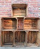 6 Wooden Darker Crates Fruit Apple Boxes Vintage Home Decor Cleaned Vintage Style!