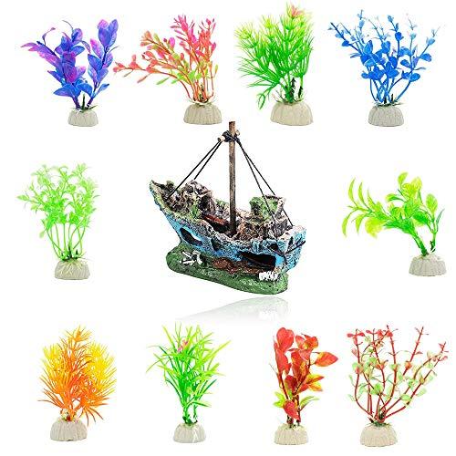 Yakobst Decorazione per Acquario, Ornamenti per Acquario Rocce e 10 Pezzi di Piante per Acquario, Paesaggio per Acquario Decorazioni,Artificiali Acquario Kit