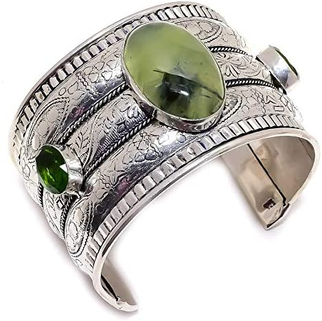 YUVI Moss Prehnite, Peridot .925 Silver Jewelry Cuff Bracelet Ad