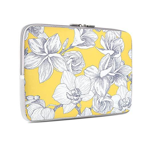iCasso 13-13.3 inch Laptop Sleeve Bag, Waterproof Shock Resistant Neoprene Notebook Protective Bag Carrying Case Compatible MacBook Pro/MacBook Air - Yellow Flower