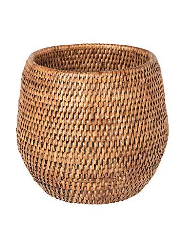 KOUBOO La Jolla Coco Rattan Bowl, Honey-Brown, Small Planter
