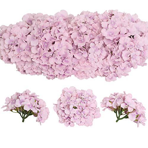 Tifuly 12 Stück künstliche Hortensien Köpfe mit Stielen, Flauschige große Rispenhortensie gefälschte Blumen für DIY Blumenarrangements, Hochzeitsfeier Home Office Dekor, Herzstück(Helles Lila)