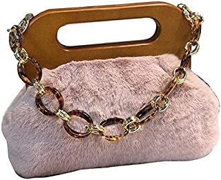 TOOGOO Women Luxury Handbag Wood Handle Bag Day Clutches Female Vintage Crossbody Bucket Bag Crossbody Bags Hairy Bag Black