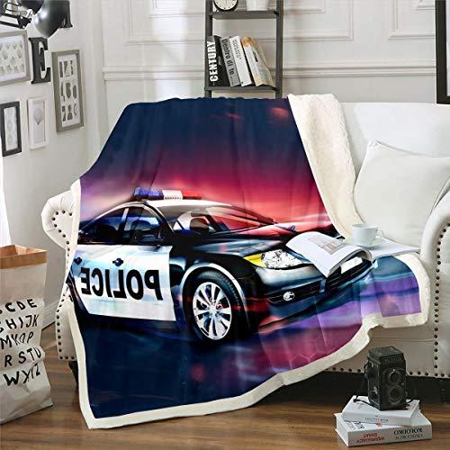 Manta de forro polar para coche de policía, para cama, sofá, niños, coche, coche, deportes, competencia, manta de felpa, decoración de dormitorio, doble 152 x 200 cm