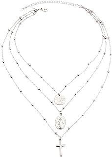 AILUOR Cruz de Cadena de Plata Virgen María Colgante Collar de la Mujer Cristiana católica Gargantilla