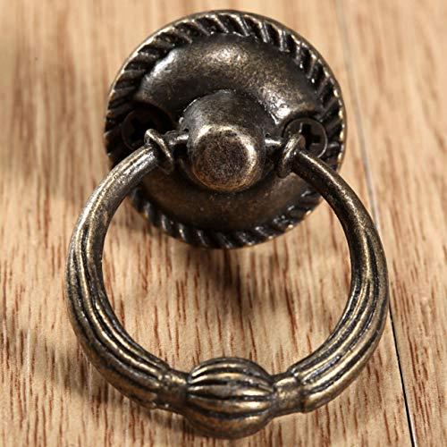 Pioremetalenkeukenladekastdeurklink meubelknoppen hardware kast antiek messing ring handgrepen, 3,7x2,1cm