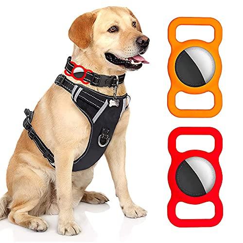 Funda Protectora de 2 Piezas para Collar de Perro Airtag, Funda Protectora Silicona Airtag para Mascotas Adecuado para Gatos Perros Ancianos y Niños
