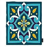 EKOBLA Mexican Pattern Throw Blanket White Blue Yellow Floral Azulejo Majolica Spanish Ceramic Plush...