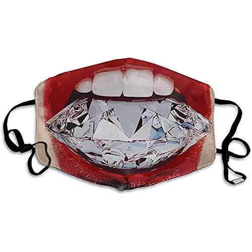 Unisex mondmasker diamant lippen anti-stof anti-vervuiling polyester motorfiets gezichtsmasker herbruikbaar