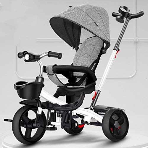 LiuQ Opvouwbare Baby Kinderwagens Reizen Kinderdriewieler Opvouwen Draagbare Kind Fietskar met Pedaal Verstelbare Trolley Roterende Stoel Opslag Frame Luifel Lichtgewicht Ontwerp