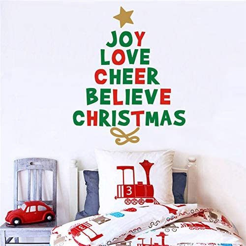 IARTTOP Creative Christmas Quotes Tree Wall Decal Joy Love Cheer Believe Christmas Sticker for product image