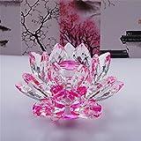 Bouquet de fleurs de lotus en cristal - Grande taille - Artisanat - Décoration pour la maison - De toutes les couleurs - Cadeau pour un anniversaire, un mariage, Verre cristal, rose