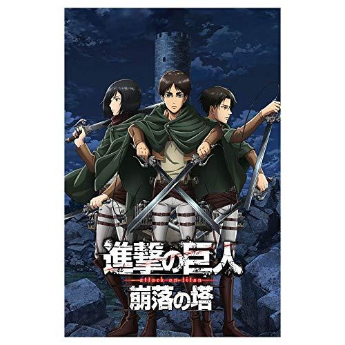 SGOT Anime Attack on Titan Poster, 42x30cm, Eren Jäger Mikasa Ackerman Levi Ackerman Poster Wandbehang Dekor(style 03)