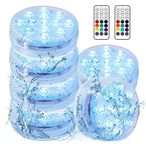 Aikove Wasserdichte LED Leuchten, 6 Stück Unterwasser Licht Farbwechsel Pool Beleuchtung für Vase Base, Weihnachten, Schwimmbad, Halloween, Dekoration Tauchlicht mit Fernbedienung