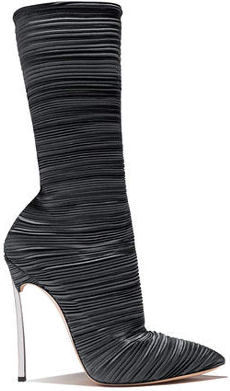 TYX-TT Mittelstiefel, Spitze 'Falten', Metallverzierte Ferse Und Modische Stiefel