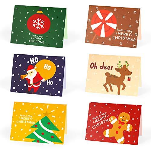 Navidad Tarjeta de Felicitación, Tarjetas Navideñas, Christmas Cards, Navidad Conjunto, 24 Piezas Tarjetas de Navidad&24 Pegatinas Sobres Navideñas&24 Sobres, Felicitación de Feliz Navidad (B)