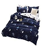 BeddingWish Blue Cartoon Star Universe Planets Beddding Set(No Comforter and Sheet) for Kids Teen Boys and Girls,Duvet Cover Set with 2 Pillow Shams(3pcs,Twin) …