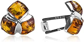 Amber Sterling Silver Square Cufflinks