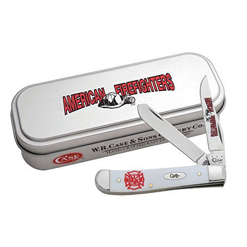 CASE XX WR Pocket Knife 5468 Image Xx Fire Dept. Smooth White Synthetic Mini...