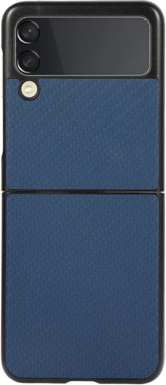 Phone Case for Galaxy Z Flip 3, PC Hard Shockproof Protection Cover Shell PU Leather Back Cover Protector Case Compatible with Samsung Galaxy Z Flip 3 5G (Blue)
