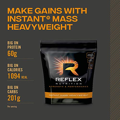 Reflex Nutrition Instant Mass Heavyweight | Mass Protein Powder | Over 1000 Calories Per Serving | 60g Protein | 18 Vitamins (Strawberry, 5.4kg)