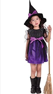 Halloween Costumes Witch Child's Costume with Hat Party Cosplay Cape Role Play Dress up for Kids Girls Purple Long Skirt W...