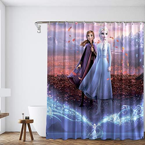 PntBab Froz-en Juego de cortina de ducha de tela con ganchos para niños decoración de baño, 72 x 72 pulgadas