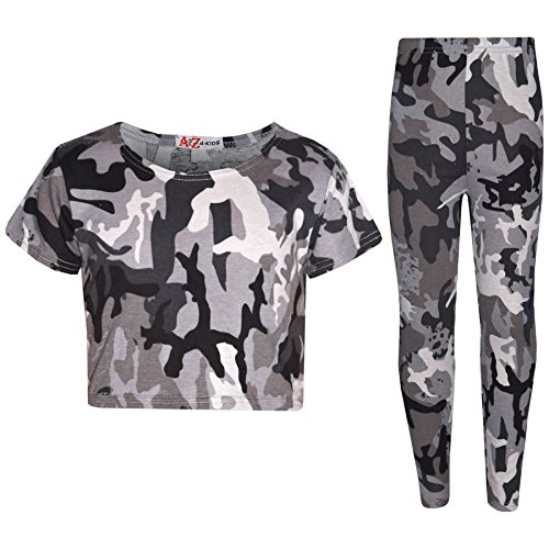 Girls Tops Kids Designer's Camouflage Print Trendy Crop Top Legging Set 7-13 Yr