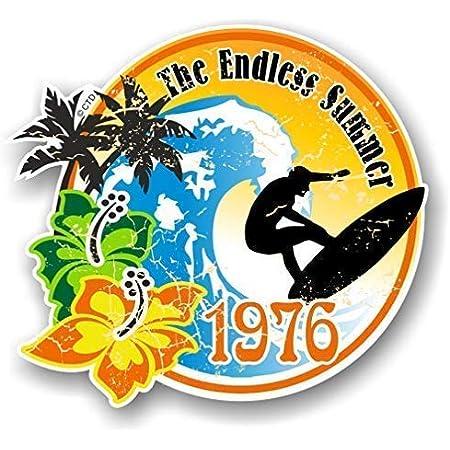 Distressd Retro Jahr Vom Endless Summer 1976 Surfer Surf Außen Vinyl Auto Bus Aufkleber 100x90mm Auto