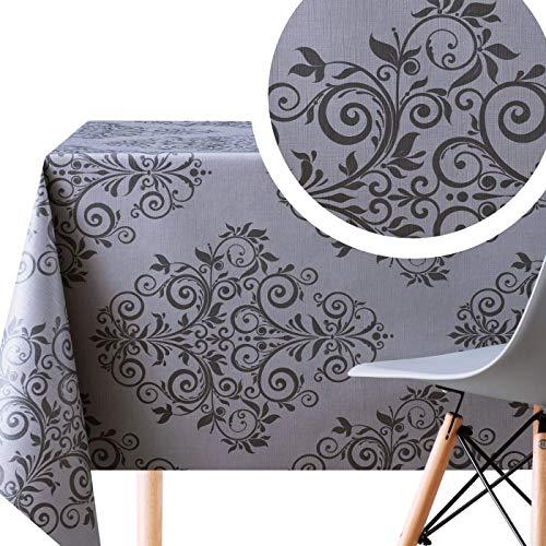 Wachstuchtischdecke Barock Damast Dunkler Graphit und Grau - Geprägtes Rechteckige 250 x 140 cm - Abwischbare PVC Tischdecke Wasserabweisend- Luxuriöse Orientalische Vinyl Wachstuch Pflegeleicht