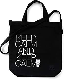 LINE FRIENDS HELVETICA Tote Bag - BROWN Character Reusable Shopping Foldable Shoulder Grocery Bag, Black