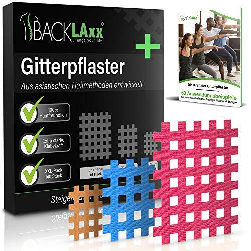 BACKLAxx® Gittertape - 140 Stück Premium-Qualität Gitterpflaster Set in 3 Größen Typ a b c - GRATIS umfangreiches eBook mit 60 Anwendungsbeispielen