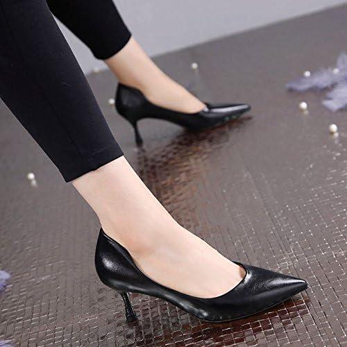 GTVERNH-Un Simple Printemps Chaussures Mesdames De Tempérament Nu De Chaussures Une Amende à 6 Cm En Plaine Des Chaussures Des Chaussures De Travail Trente - Six noir