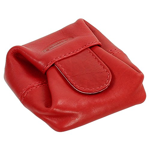Ledershop24 Branco Geldsäckchen Mini Geldbörse Münzbörse Minibörse Schütter Kleingeldbörse Geldbeutel Leder 6,5cm Farbe rot